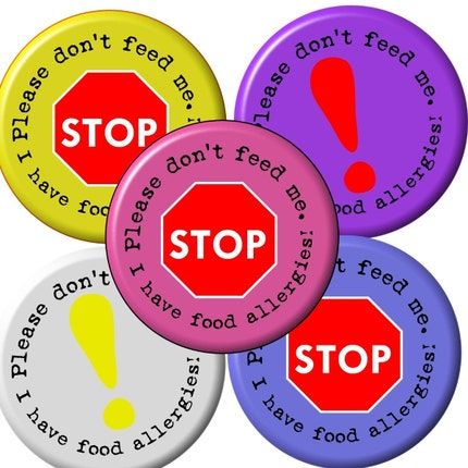 Allergy Awareness Pinback Button 5 Pack
