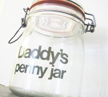 Daddy's penny jar vintage glass
