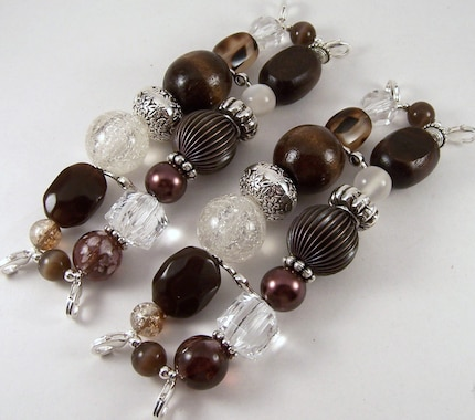 Chocolate Kiss.. Super Chunky Brown and Clear Interchangeable Watch Band, Silver Plated, Stretchy