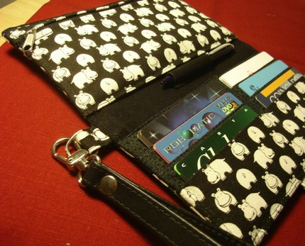 White Hippos on black long wallet with leather wristlet by italiacraft on Etsy