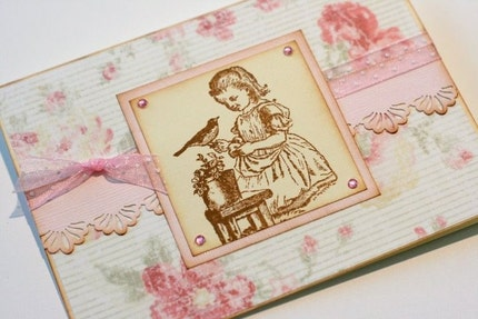 Vintage Style Garden Girl and Bird Greeting Card and Sticker Seal