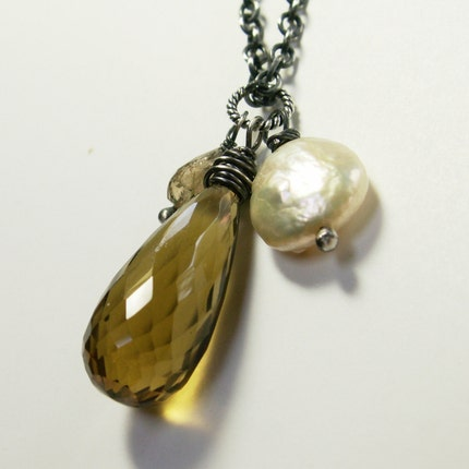 handcrafted jewelry necklace sterling silver whiskey quartz coin pearl tourmaline golden
