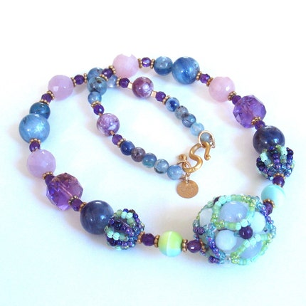On the Vine Necklace -- Purple Blue Green Gold