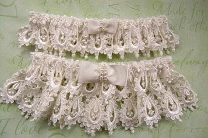 Heirloom Venice Wedding Lace Garter Set with Inner Secret Something Blue