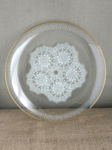 Danish Modern Serving Tray with Lace Pattern