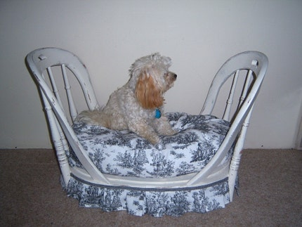 Shabby chic dog bed with toile pad.