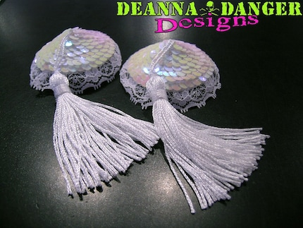 Deanna Danger Designs Bridal Lace Sequin Pastie with Tassel
