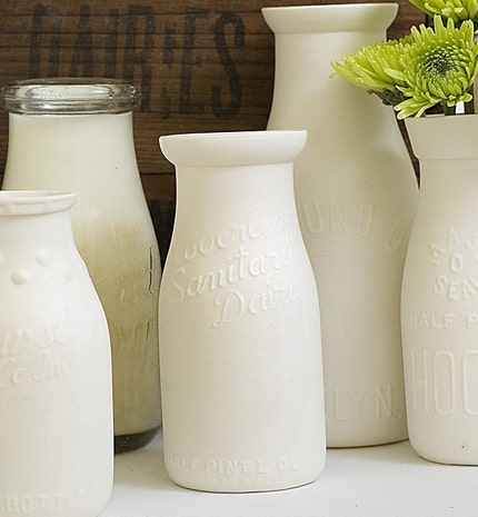 Cloverleaf Dairy--Antique Replica Porcelain Milk Bottles by alyssaettinger on Etsy