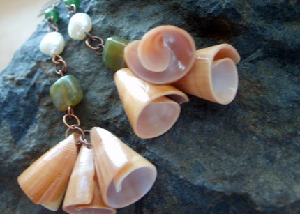 Summer Naturals ....Feeling Beachy...Freshwater Pearls, Green Aventurine, Sea Shells and Copper