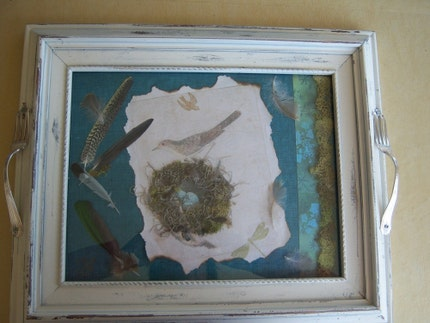 Bird and nest collage tray