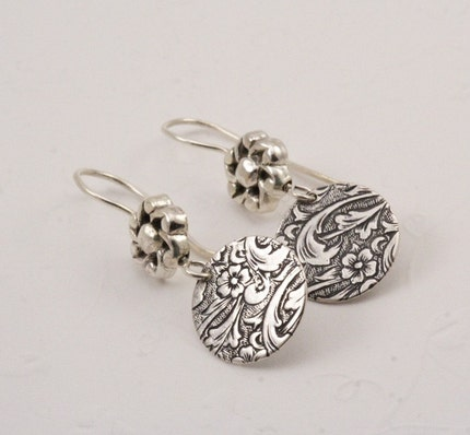 Floral Engraved Silver Circle Earrings