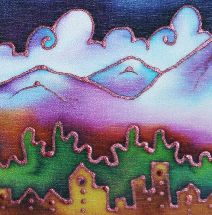 mountain  landscape hand painted silk  - 5x7 painting