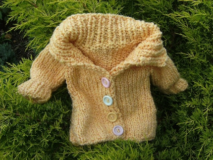 Yellow Hand Knit Cardigan for Toddler Boy or Girl 24 Months 2 Years and Older