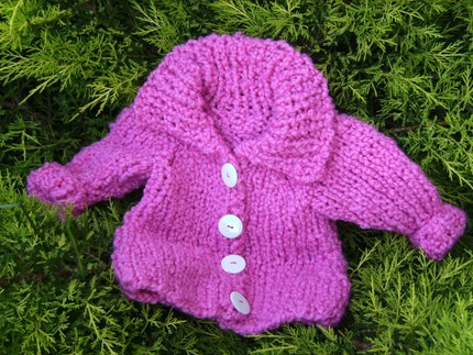Pink Hand Knit Cardigan for Toddler Girl 18 Months and Older