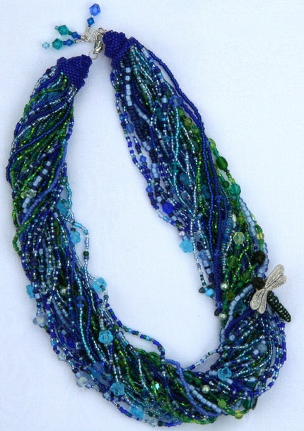 Betsy's Murmuring Lake Choker with Dragonfly Bead and Swarovski Crystals