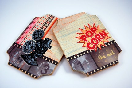Wood and Felt Beverage Coasters - Set of 2 -    Movie Theme