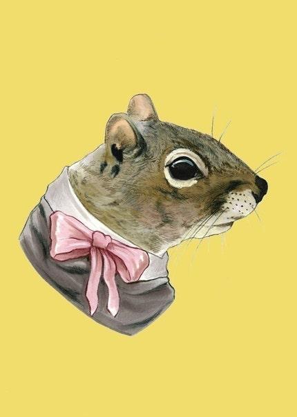 Squirrel Lady print 5x7