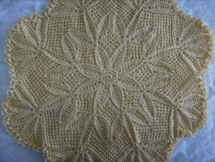 Yellow Hand Knitted Lace Table Doily 13 Inch Diameter