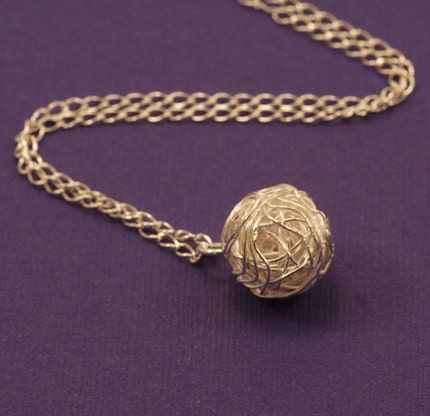 Silver Ball of Yarn Necklace