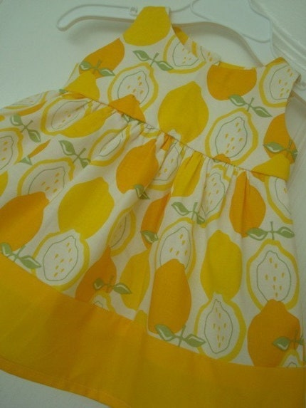 Infant or Toddler Twirl Dress in Alexander Henry Juicy Lemons Dress...NB, 3m 6m, 9m, 12m, 18m, 2T, 3T, 4T, 5T, 6T...<span class=