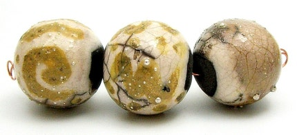 Golden Dawn Raku Bead Set of 3...Raku Jewelry Supplies by MAKUstudio
