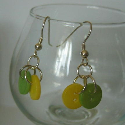 Lemon and Lime Tiny Button Earrings Summer Fresh