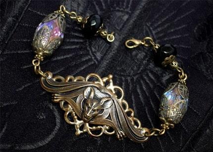 Gothic Vampire Victorian Jewelry Bracelet - Goth Halloween Jewellery - Invocation Bracelet