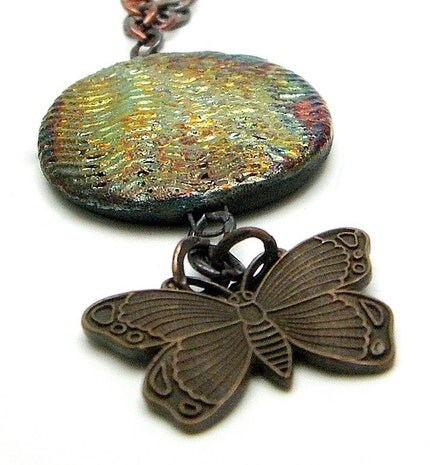 Brass Butterfly Raku Necklace...Raku Jewelry by MAKUstudio