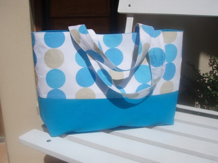 Seeing Spots handbag - blue, white, caramel
