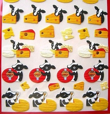 Cute Japanese Washi Paper Stickers - Cute Cows And Cheese (S314)