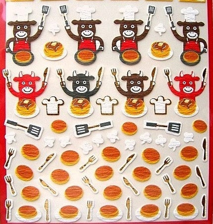 Cute Japanese Washi Paper Stickers - Cows Making Pancakes  (S567)