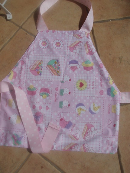 Cupcake child's apron - pink polka dots