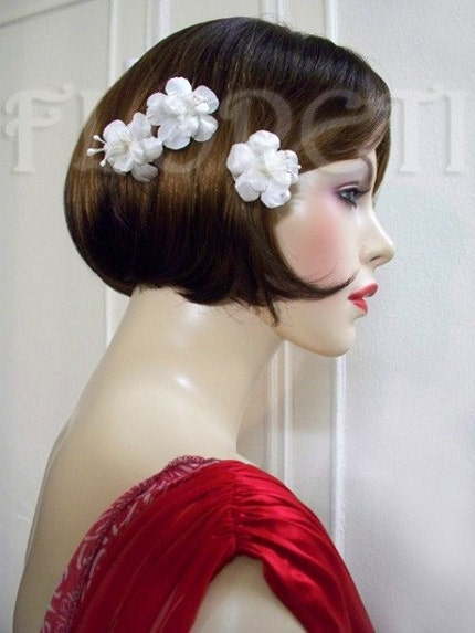 Bridal Hair Flowers Antique White Silk Pearl Maria Mirabella Bobby Hair Pins, Set of 3 from etsy.com