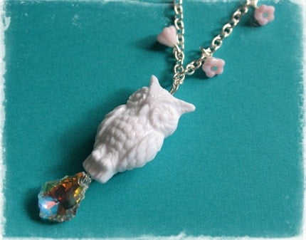 Girly Floral Owl Swarovski Pendant Necklace