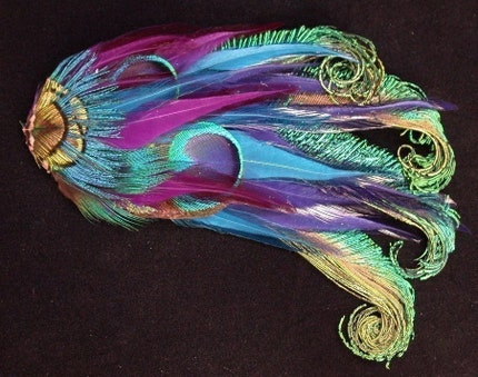 Beautiful Peacock Barrette with Purple, Blue and Turquoise Accent Feathers