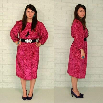 SALE Hot Pink shiny 80's secretary Dress