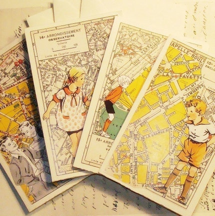 Children in Paris - 4 Assorted Collage Cards