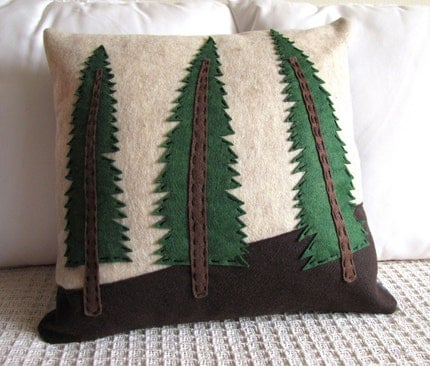 Evergreen Forest Felt Pillow Cover with Hand Stitched Applique