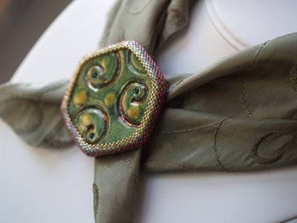 Gaia - Triple-Strand Beadwoven Necklace with Raku Pendant (3060)