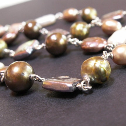 handmade jewelry necklace freshwater pearls sterling silver