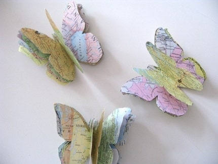 Paper Butterfly Wall Decorations Maps SET of 3