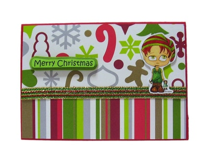 Christmas In July - Kreepy Kids Elf Boy Handmade Card by uniquegrabs on Etsy
