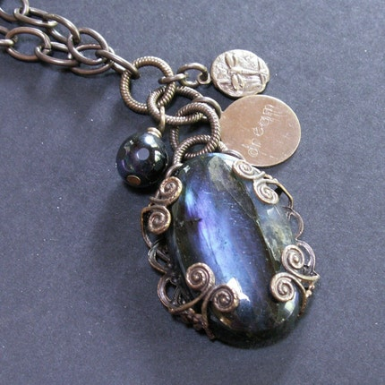handcrafted jewelry necklace labradorite brass chain filigree