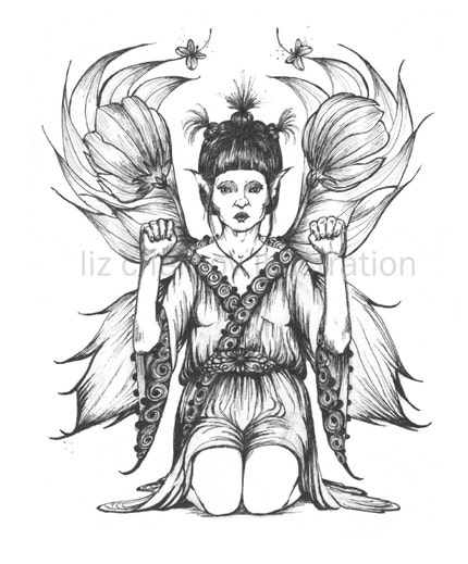 Liz Chernov sells amazing black and white illustrated captures of fairies in