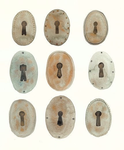 Keyholes -watercolor painting