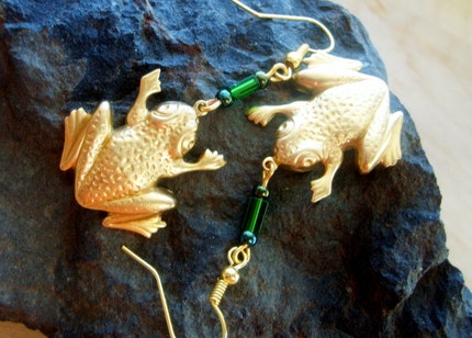 The Frog Prince .....Brass Frog and Green Glass Earrings