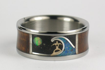 Hawaii Titanium Rings Dawn Patrol Surfer Mens Titanium Ring by