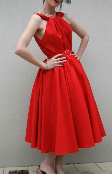 GORGEOUS handmade 1950s style RED BOMBSHELL DRESS