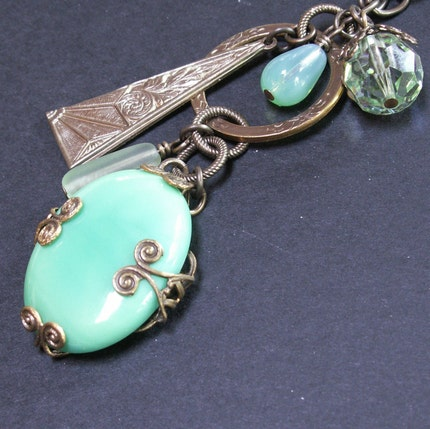 handmade jewelry necklace chrysoprase mint green cabochon brass filigree