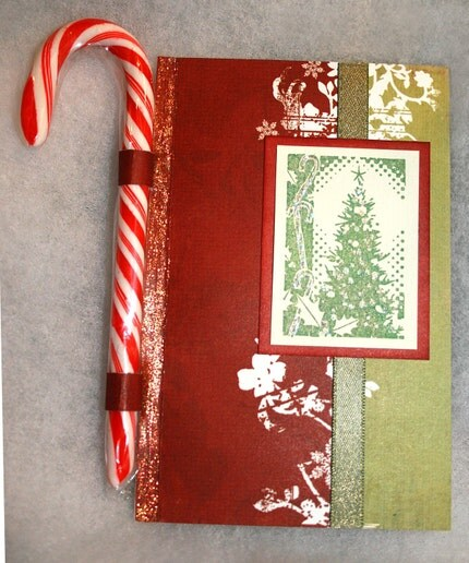 CHRISTMAS in  JULY Red and Green Candy Cane Christmas Card
